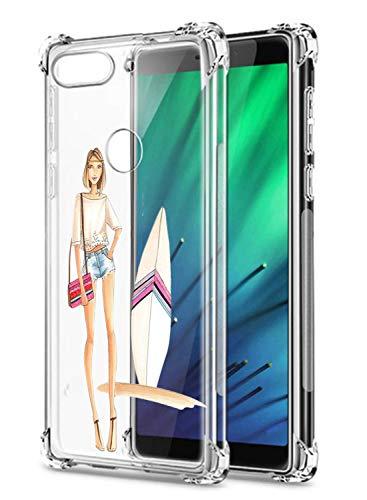 Suhctup Coque Filles Compatible pour Xiaomi Redmi 7,Etui [Antichoc Airbag] Transparent Silicone TPU Souple Mode Motif Crystal Housse de Protection Cas