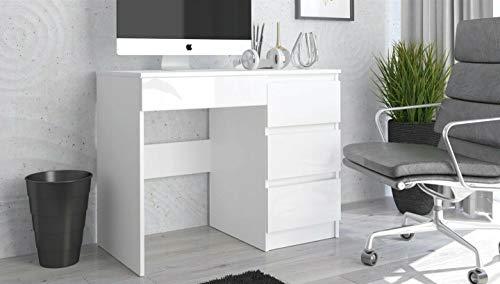 Megaastore Schreibtisch 4 Schubladen Bürotisch Computertisch Effect Hochglanz weiß | 77(H) x 96(B) x 50(T) cm (Weiss/Hochglanz)