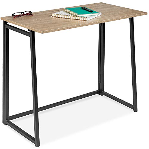 Best Choice Products 31.5in Folding Drop Leaf Desk Table, Computer Workstation for Home Office w/Wood Table Top, Back Shelf, Portable, Space Saving - Black/Natural