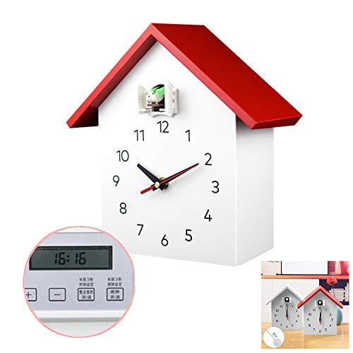NANANA Kuckucksuhr Bauernhaus mit Pendel Wanduhr Design Uhr, Uhr Modern Pendeluhr Holz Kuckuck Zeit Chronometer, Timing-Funktion,Rot,Canbetimed