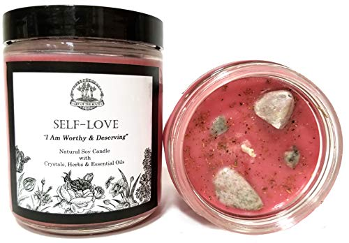 Self Love Affirmation Candle: 8 oz Natural Soy with Pink Thulite Crystals,Herbs & Essential Oils for Acceptance, Self-Worth, Healing & Forgiveness for Wiccan, Pagan & Magic Spells & Rituals