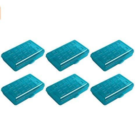 Sterilite Plastic Pencil Box - Green - Pack of 6