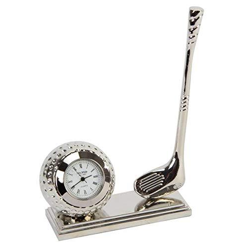 Miniatur Schreibtischuhr Golfball mit Schläger - Miniuhr