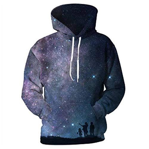 Zuyau 3D Pullover für Herren Hoodie Kapuzenpullover Für Halloween Sweatshirts 3D Hoodies Sweatshirts Herren Planet Balloon 3D Print Streetwear Pullover Tops Trainingsanzüge L