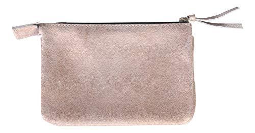 Clairefontaine 400042C - Une petite pochette Plume (trousse) 2 compartiments 13x9 cm en cuir Daim irisé, Cuivre