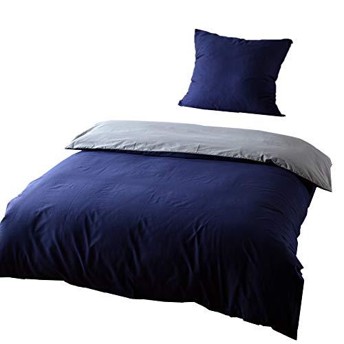 KEAYOO Bettwäsche 155x220 Baumwolle Blau + Grau 100% Bettbezug mit Reißverschluss 2 teilig