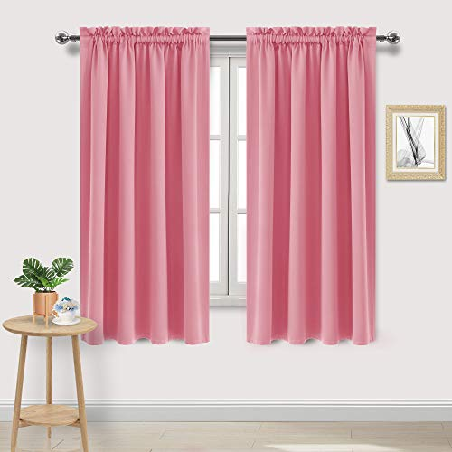 DWCN Blackout Curtains Room Darkening Thermal Insulated Bedroom Curtains Window Curtain Panels, 52 x 63 inches Long, Set of 2 Pink Rod Pocket Drapes