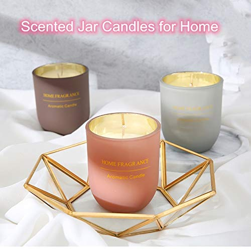 XJKJ Scented Jar Candles for Home Handmade Soy Candle,Cylindrical Glass smokeless Aroma Candle Gift Box,Smoke Free Long Lasting Candles-for Birthday Party Romantic Festival (Brown)