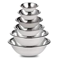 Culinary Depot Steel Mixing Bowls Set of 6 for Cooking, Baking, Meal Prep, Serving, Nestin, Nesting, Salads, 3/4-1.5-3-4-5-8 Quarts, Stainless Steal