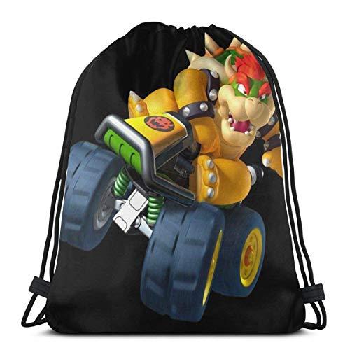WH-CLA Cinch Bags Bowser Kart Gift Gift Casual Universal Print Outdoor Sports Drawstring Bag Travel Drawstring Backpack Cinch Bags Men Fitness Bag Women School Birthday Sports