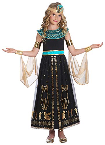 Disfraz de Cleopatra de la reina del Nilo, para niña, color negro y turquesa, disfraz histórico para niños negro, turquesa 6-8 Años