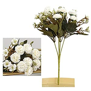 RWX Elegant and Beautiful Artificial Flower Silk Carnation Bouquet Mother's Day Teacher's Day Gift Fake Flower Wedding Home Decoration Home Decoration (Color : White)