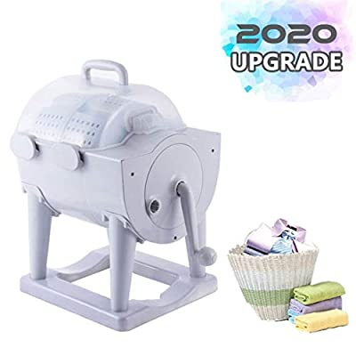 YDCW Mini Washing Machine Portable,Hand Cranking Washer Rotary Dryer Compact Non-Electric Hand-Operated Manual Environmentally Washer for Dormitory,Apartment,Camping Laundry Alternative