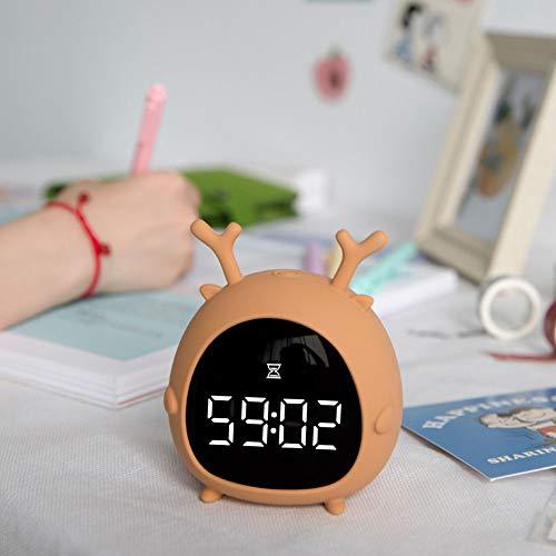 HIL Mascota Elfo Despertador Luz De Noche Led con Termómetro Reloj Multifunción Reloj Digital Gran Pantalla Digital Despertador para Niños Regalos para Niños, Naranja