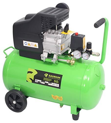 SAURIUM - Compresor de Aire - Monobloco - 50L 1.5HP - - Cabeza de grandes dimensiones com más producion de aire