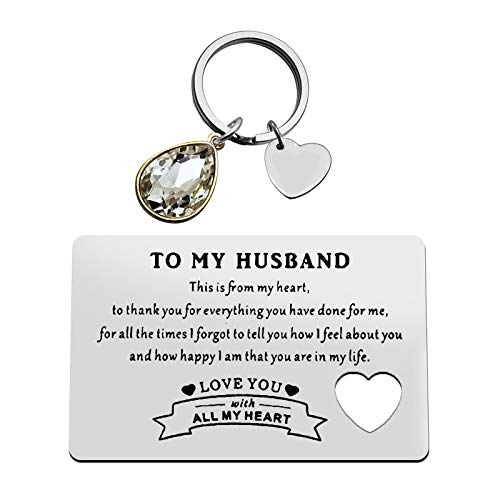 To Husband Jewelry Gift Engraved Wallet Inserts Card Keychain Set for Boyfriend Him Valentine's Day Jewelry Anniversary Card Gifts Deployment Gifts Couple Jewelry for Men Birthday Wedding Gift