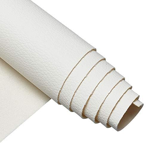 BENECREAT Bianco Foglio di Tessuto in Finta Pelle PU 33x140cm Schienale in Tela Litchi per Borsa, Cappello, Cucito e Decorazioni