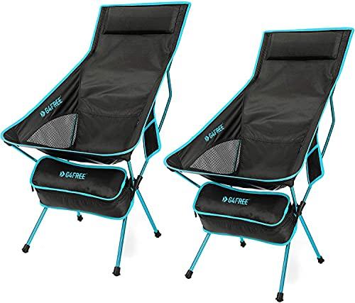 G4Free Lot de 2 Chaise de Camping Pliable Portable Léger avec Appui-tête pour Pique-Nique Plage Randonnée Pêche Jardin