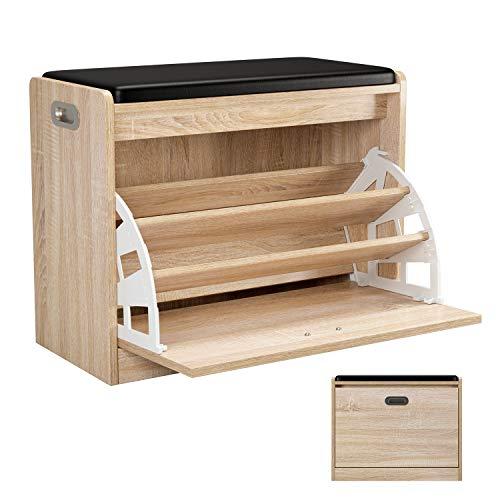 HOMFA Schuhschrank mit Sitzkissen Schuhbank Sitzbank Schuhtruhe Sitzkommode Schuhregal Schuhbank Schuhablage mit Stauraum für Flur Diele Verbindungsgang 60x29.5x50.5cm (Eiche)