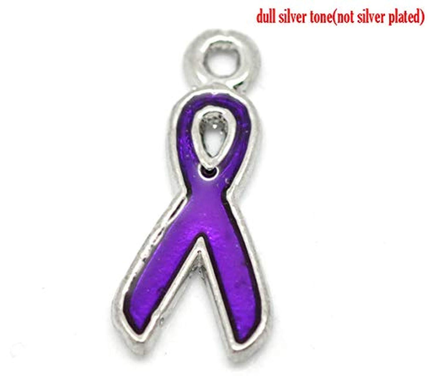 PEPPERLONELY 20pc Silver Tone Alloy Purple Enamel Ribbon Charms Pendants 20x9mm (3/4
