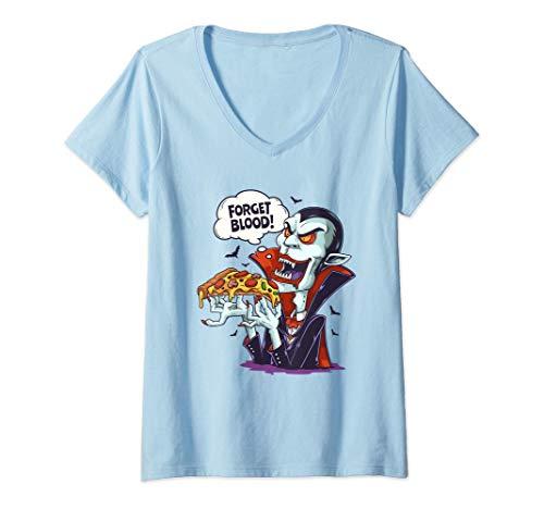 Mujer Divertido Disfraz de Vampiro Comiendo Pizza en Halloween Camiseta Cuello V