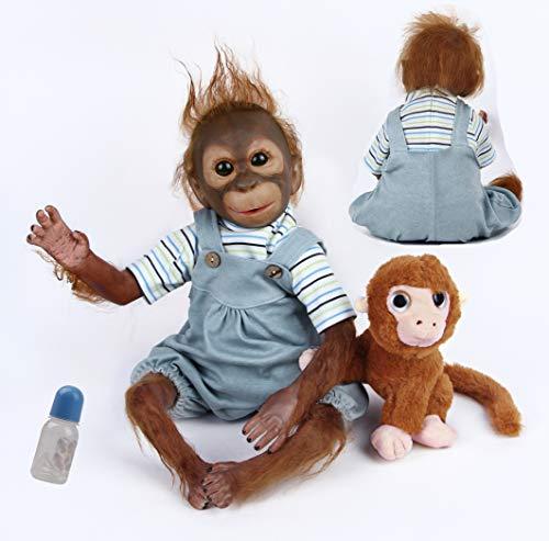 antboat 21inch 52cm Reborn Monkey Doll Boys Soft Silicone Vinyl Realistic Real Life Reborn Baby Toddler Free Reborn Babies