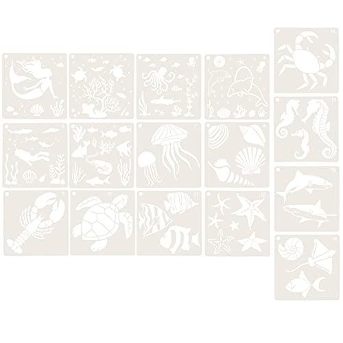 TOYMYTOY Plantilla de Pintura de Animales de Mar Océano Plantilla de Pintura de Animales Plantilla de Animales de Mar de 16 Piezas