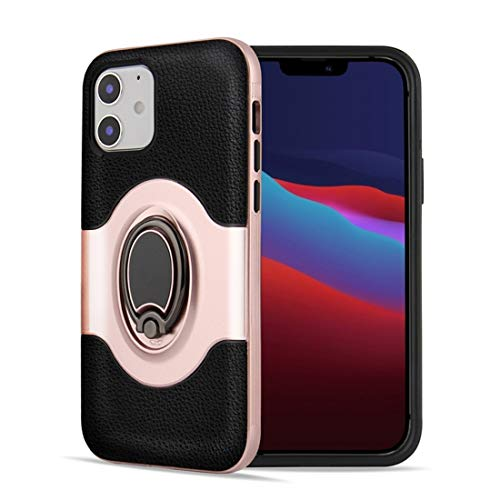 ZHENGNING Protective Case For iPhone 12 Pro 6.1 inch Dual Layer TPU+PC Hybrid Armor Shockproof Case with 360 Degree Rotating Metal Holder Smartphone Slim Cover Shell (Color : Rose Gold)