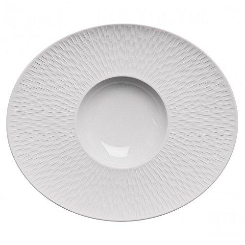 DEGRENNE - Boreal Satin Lot de 3 assiettes gourmet ovale, porcelaine 30x26 cm - Blanc