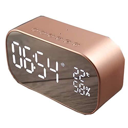 Angelay-Tian Radio Altavoz Bluetooth, Radio FM Bluetooth 4.2 Conexión, Reloj de Espejo LED for Dormitorio Inicio de Audio de Escritorio (Size : D)