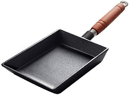 ZXL Rechthoekige Nonstick Ei Koekenpan, Gietijzeren Omelet Pan met Afneembare Houten Handvat Pannenkoekenpan Koker