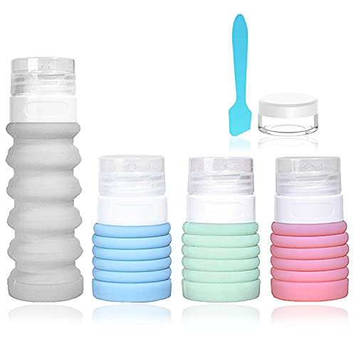 4-Color Travel Bottle Set Food-Grade Refillable Travel Containers,Collapsible Travel Accessories Tube Sets for Shampoo Lotion Soap,42ML-88ML (4-color set)