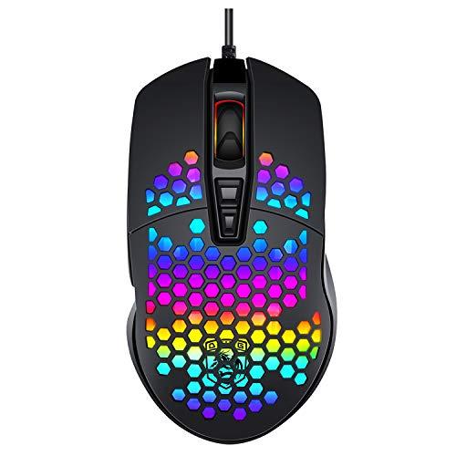 Ratón Gaming, THUN-CT Ratón USB con Cable Honeycomb,Raton RGB ,7 Botones Programados,...