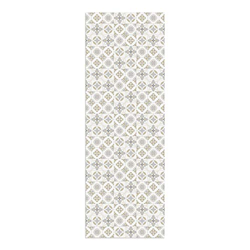 DON LETRA Alfombra Vinílica Baldosas, 200 x 70 cm, Color Beige, Vinilo PVC Estampado, Grosor 2.2 mm, ALV-087