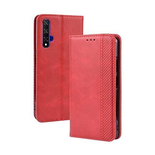 LAGUI Kompatible für Huawei nova 5T Hülle, Leder Flip Hülle Schutzhülle für Handy mit Kartenfach Stand & Magnet Funktion als Brieftasche, rot