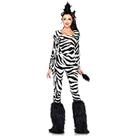 Leg Avenue Costumes 2Pc.Wild Zebra Catsuit with Tail and Mohawk Ear Headpiece