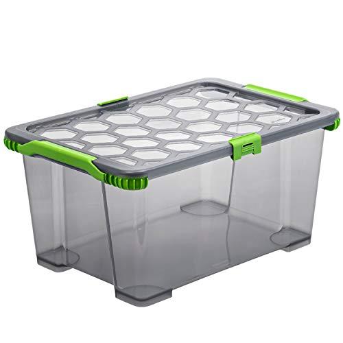 Rotho EVO - Total Protection Aufbewahrungsbox mit Deckel, Polypropylen, Anthrazit Durchscheinend, 44 Liter