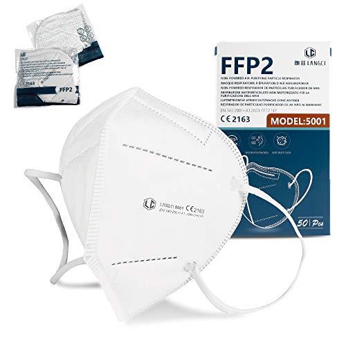 NEWTECK Mascarillas FFP2 50 Unidades Homologadas CE 2163. Mascarillas FFP2 Blancas con Alta eficiencia Filtración, Embolsadas Individualmente, Normativa UNE-EN 149:2001+A1:2009, Transpirables