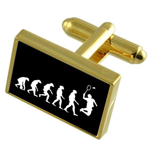 Select Gifts Evolution Ape Man Badminton Sport Gold-Manschettenknöpfe schwarze Tasche