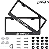toyota license plate frame black - 2pcs for TOYOTA front and Rear License Plate Frame,Newest Matte Aluminum Alloy License Plate for TOYOTA All Models,Personalize and Decorate for TOYOTA License Plate Cover,Screw Caps Included …