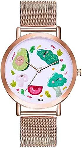JZDH Mano Reloj Reloj de Pulsera Moda de Lujo Reloj de Aguacate Mujer Vestido analógico Reloj de Pulsera para Mujer Quarzt Reloj Reloj Relogiono Relojes Decorativos Casuales (Color : Gold)