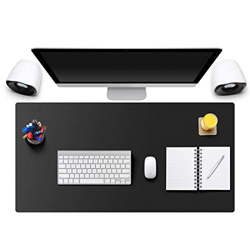 MONYES Thick Desk Pad Protector, PU Leather Desk Mat Blotters, Black Laptop Mat for Office/Home (24