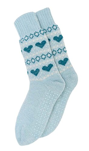 i-Smalls RJM Damen Frauen 1er Pack Fairisle Muster Warme Lange Slipper Socken (Blau)