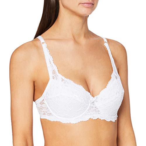FM London Damen Padded Lace Push-Up BH, weiß, 80C