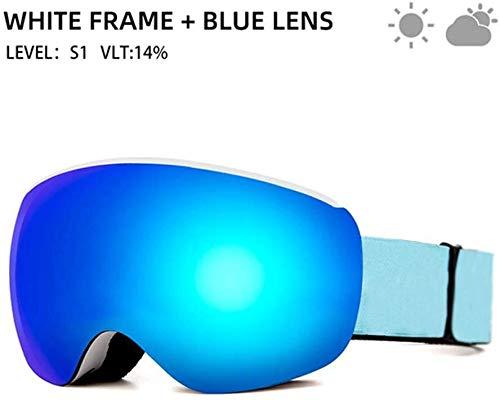 ASPORT Ski & Snowboardbrillen, Magnetic Snow Goggles Helm kompatibel mit Anti-Fog UV-Schutz Doppel-Objektiv, for Kinder Jugend-Jungen-Mädchen Schneebrille (Color : A)