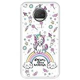 Hapdey Custodia per [ Motorola Moto G5S Plus ] Disegni [ Arcobaleno, sogna Come Un Unicorno ] Cover Guscio in Silicone Flessibile Transparente TPU