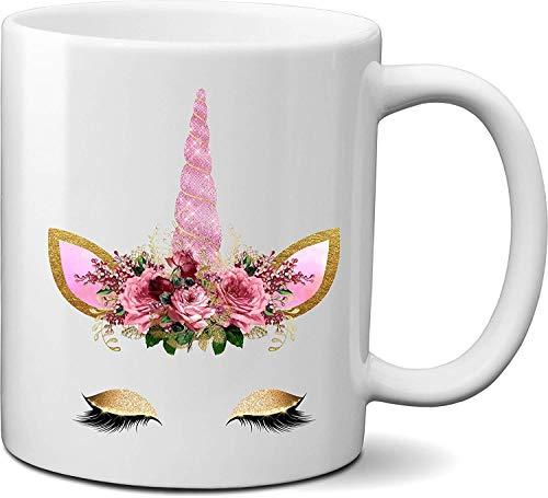 LUOWAN Taza de café de cerámica con diseño de unicornio, taza de agua con un pez aquí y da Unico, personalizable (9)