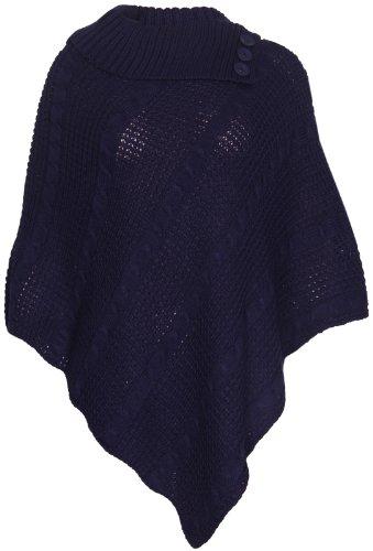 Purple Hanger Damen Cape-Schal Langer Strickpullover mit Rollkragen gefalteter Jumper Damen-Poncho Top Einheitsgröße - Einheitsgröße, Marineblau