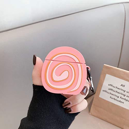 JIAJIA creativo de dibujos animados lindo rollo de huevo de silicona anticaída Airpods Apple Bluetooth auriculares inalámbricos funda protectora es adecuada, rollo de huevo marrón, rollo de huevo rosa