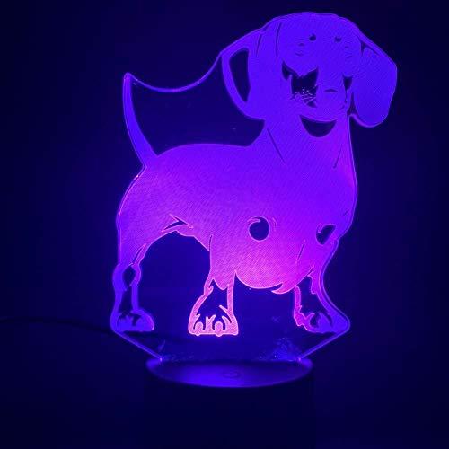 3D Illusion animal de compagnie chien chiot Veilleuse chevet Bureau Led capteur tactile USB 7 couleurs RBG enfant enfants Décor cadeau Lampe lumière de nuit